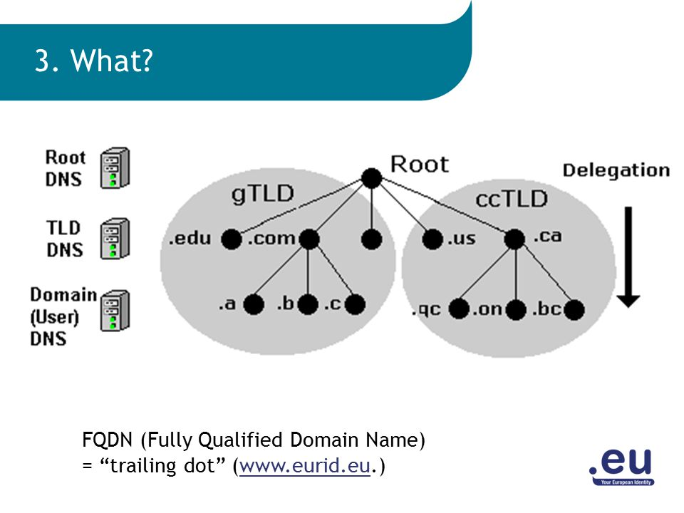 FQDN (Fully Qualified Domain Name) = trailing dot (www.eurid.eu.)www.eurid.eu