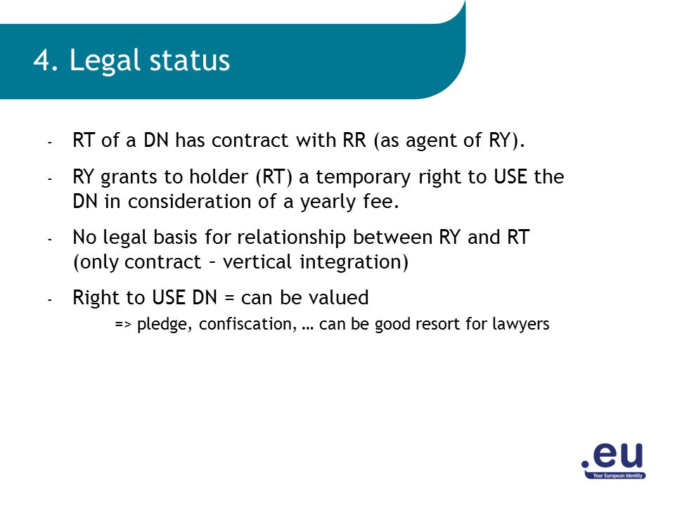 - RT of a DN has contract with RR (as agent of RY).