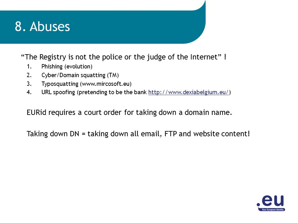 The Registry is not the police or the judge of the Internet .