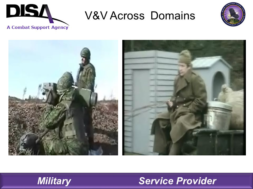 A Combat Support Agency V&V Across Domains Military Service Provider