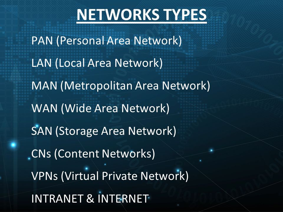 PAN (Personal Area Network) LAN (Local Area Network) MAN (Metropolitan Area Network) WAN (Wide Area Network) SAN (Storage Area Network) CNs (Content Networks) VPNs (Virtual Private Network) INTRANET & INTERNET