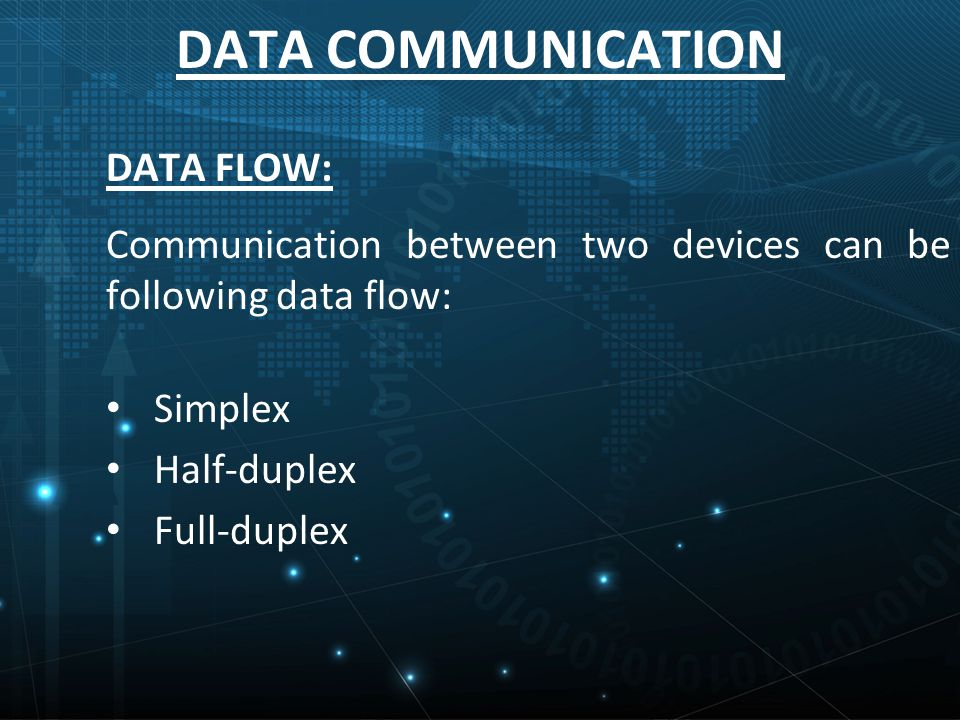 DATA COMMUNICATION DATA FLOW: Communication between two devices can be following data flow: Simplex Half-duplex Full-duplex
