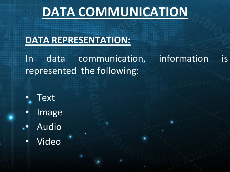 DATA COMMUNICATION DATA REPRESENTATION: In data communication, information is represented the following: Text Image Audio Video