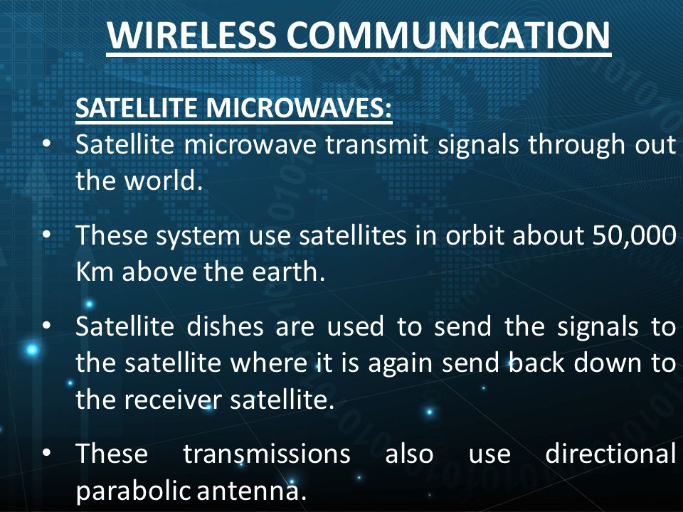 WIRELESS COMMUNICATION SATELLITE MICROWAVES: Satellite microwave transmit signals through out the world.