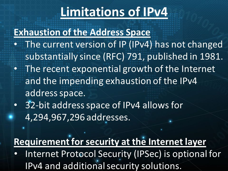 Limitations of IPv4 Exhaustion of the Address Space The current version of IP (IPv4) has not changed substantially since (RFC) 791, published in 1981.