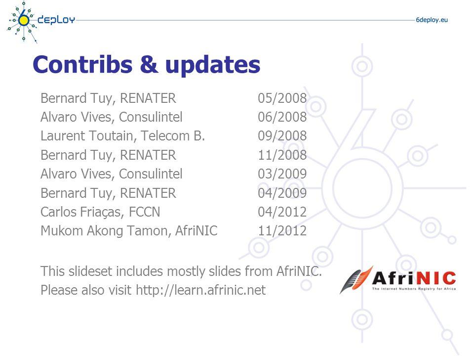 Contribs & updates Bernard Tuy, RENATER Alvaro Vives, Consulintel Laurent Toutain, Telecom B.