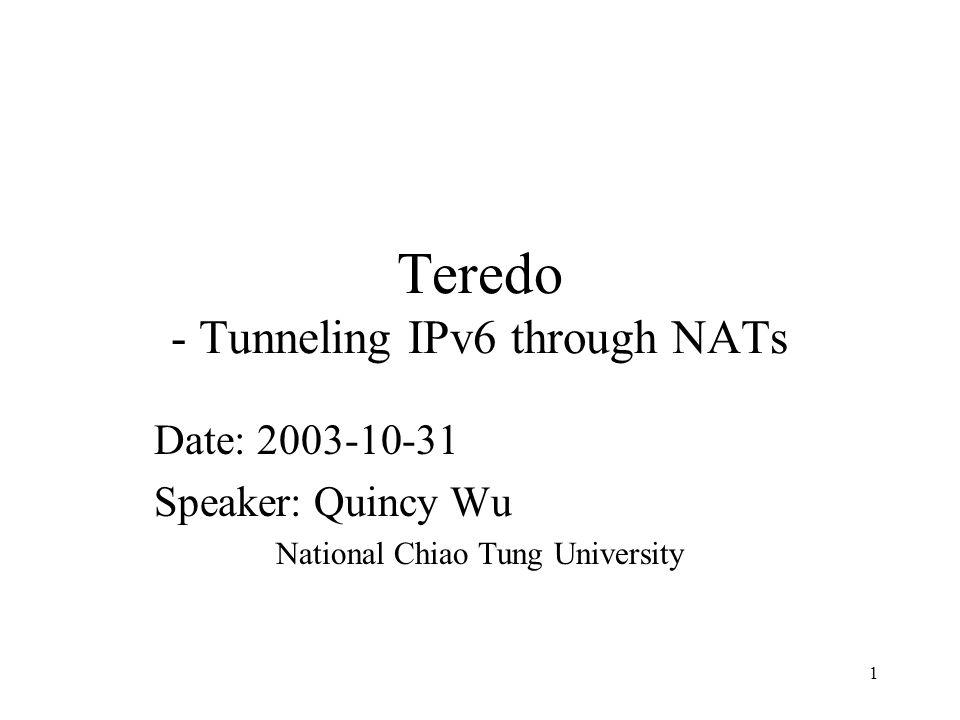 12 Teredo Tunnel: To host behind NAT IPv4 Teredo Client Teredo Relay NAT IPv6 Network Teredo Server 1 2 3 140.113.131.1 2001:238:F88:131::7 3FFE:831F:8C71:8337 ::F227:738E:7CFE IPv4 SRC 140.113.131.73 IPv4 DEST 140.113.131.1 140.113.131.55 140.113.131.73 IPv6 SRC 2001:238:F88:131::7 Data IPv6 DEST 3FFE:831F:8C71:8337::F 227:738E:7CFE IPv6 SRC 2001:238:F88:131::7 Data IPv6 DEST 3FFE:831F:8C71:8337::F 227:738E:7CFE IPv4 SRC 140.113.131.3 IPv4 DEST 10.0.0.1 IPv6 SRC 2001:238:F88:131::7 Data IPv6 DEST 3FFE:831F:8C71:8337::F 227:738E:7CFE UDP SRC 3544 UDP DEST 54392 UDP SRC 3544 UDP DEST 3544