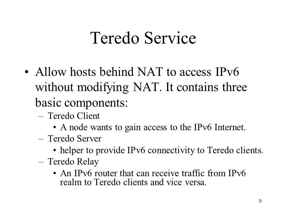 10 Teredo Operation Model IPv4 Teredo Client Teredo Relay NAT Teredo Server Teredo Client gets its Teredo IPv6 address from Teredo Server.