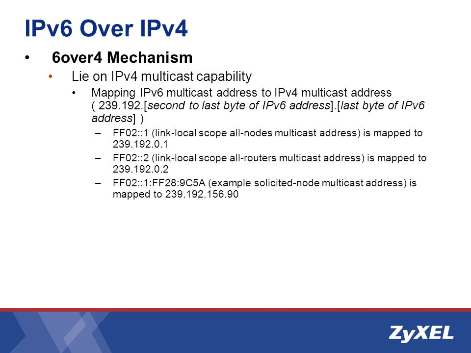 IPv6 Over IPv4 6over4 Mechanism Lie on IPv4 multicast capability Mapping IPv6 multicast address to IPv4 multicast address ( 239.192.[second to last byte of IPv6 address].[last byte of IPv6 address] ) –FF02::1 (link-local scope all-nodes multicast address) is mapped to 239.192.0.1 –FF02::2 (link-local scope all-routers multicast address) is mapped to 239.192.0.2 –FF02::1:FF28:9C5A (example solicited-node multicast address) is mapped to 239.192.156.90