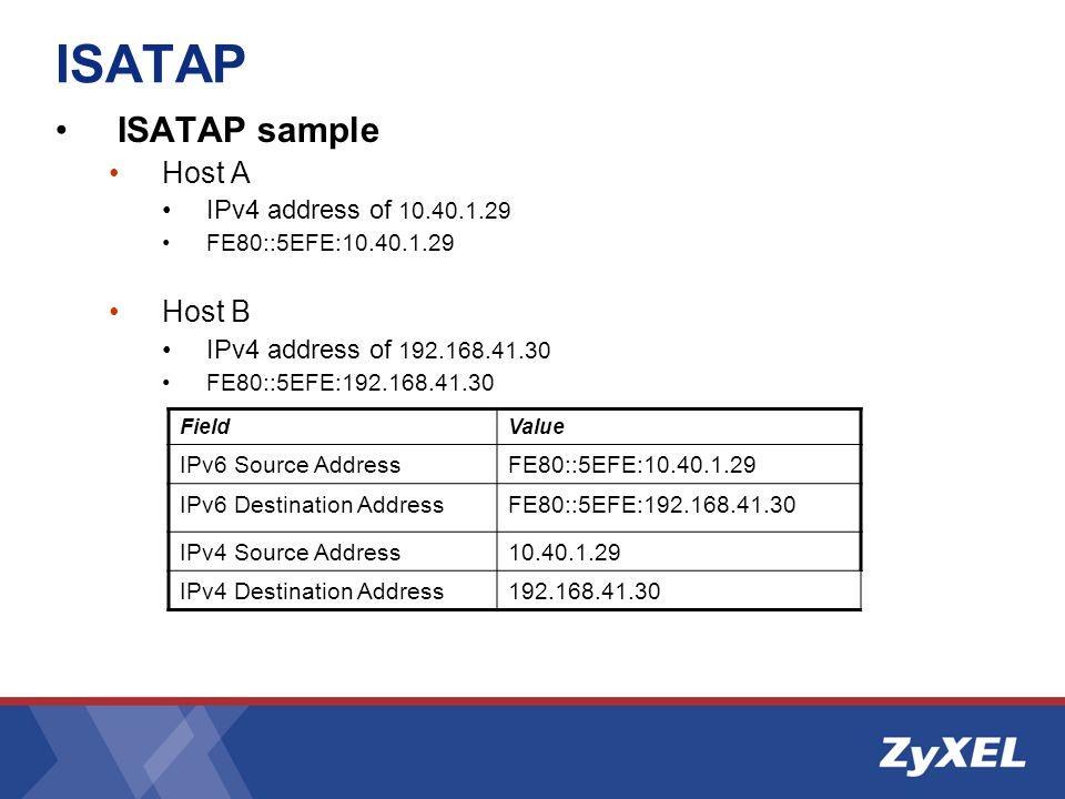 ISATAP sample Host A IPv4 address of 10.40.1.29 FE80::5EFE:10.40.1.29 Host B IPv4 address of 192.168.41.30 FE80::5EFE:192.168.41.30 FieldValue IPv6 Source AddressFE80::5EFE:10.40.1.29 IPv6 Destination AddressFE80::5EFE:192.168.41.30 IPv4 Source Address10.40.1.29 IPv4 Destination Address192.168.41.30