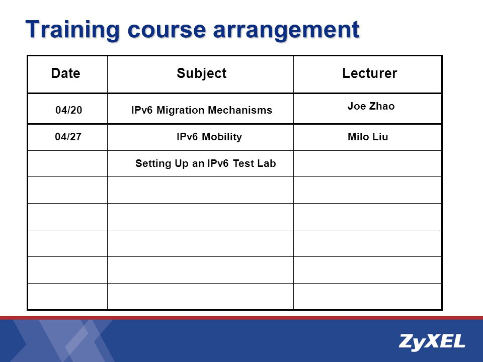 DateSubjectLecturer Setting Up an IPv6 Test Lab IPv6 Migration Mechanisms IPv6 Mobility Joe Zhao Milo Liu 04/20 04/27 Training course arrangement