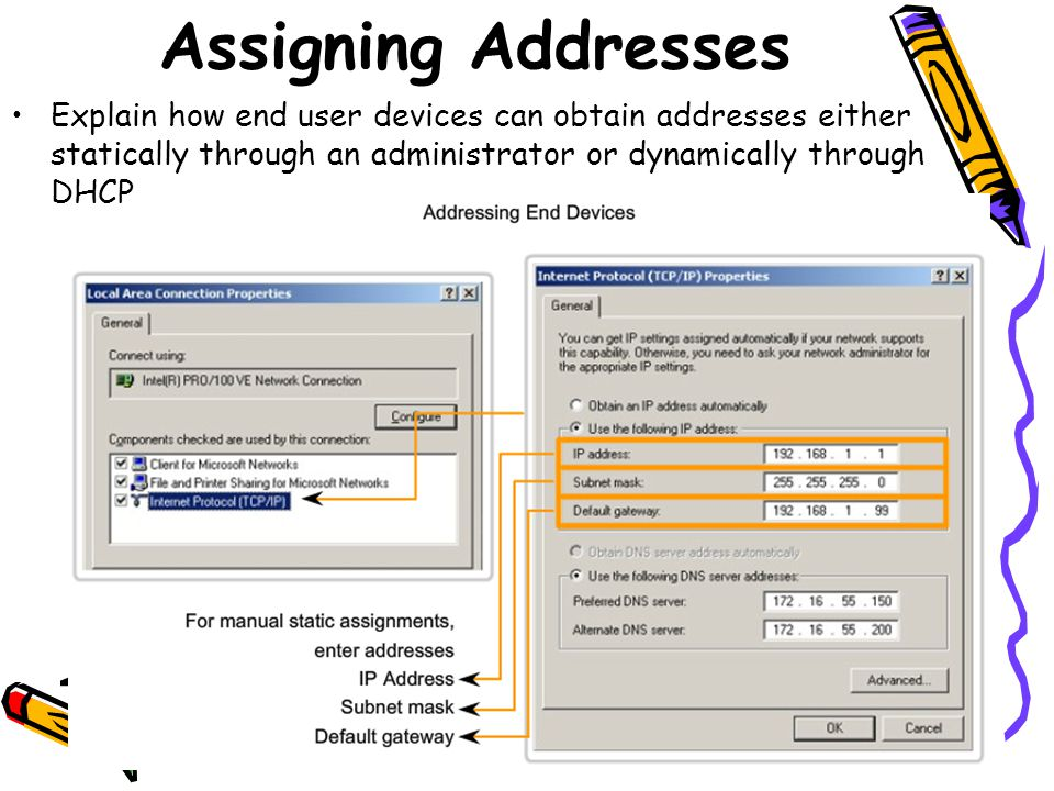 Explain how end user devices can obtain addresses either statically through an administrator or dynamically through DHCP Assigning Addresses