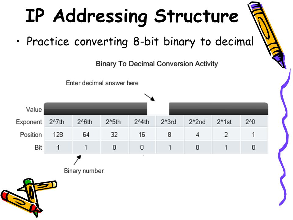 IP Addressing Structure Practice converting 8-bit binary to decimal