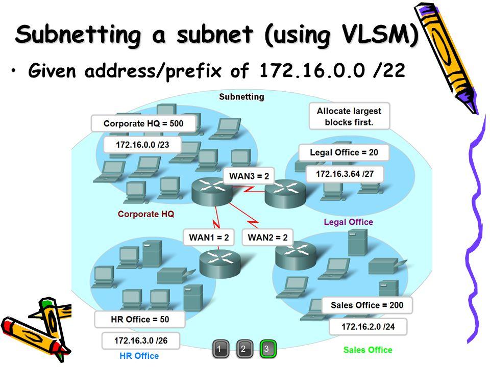 Given address/prefix of 172.16.0.0 /22