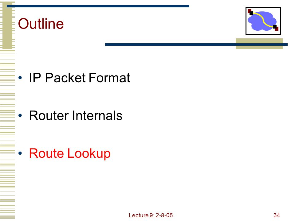 Lecture 9: 2-8-0534 Outline IP Packet Format Router Internals Route Lookup