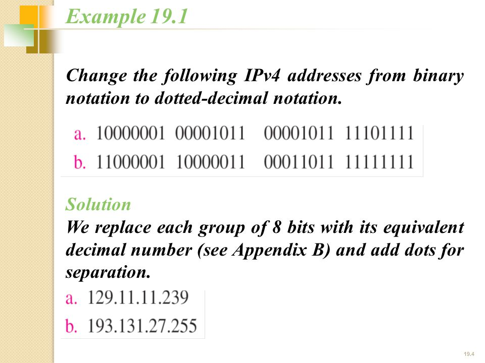 19.4 Change the following IPv4 addresses from binary notation to dotted-decimal notation.