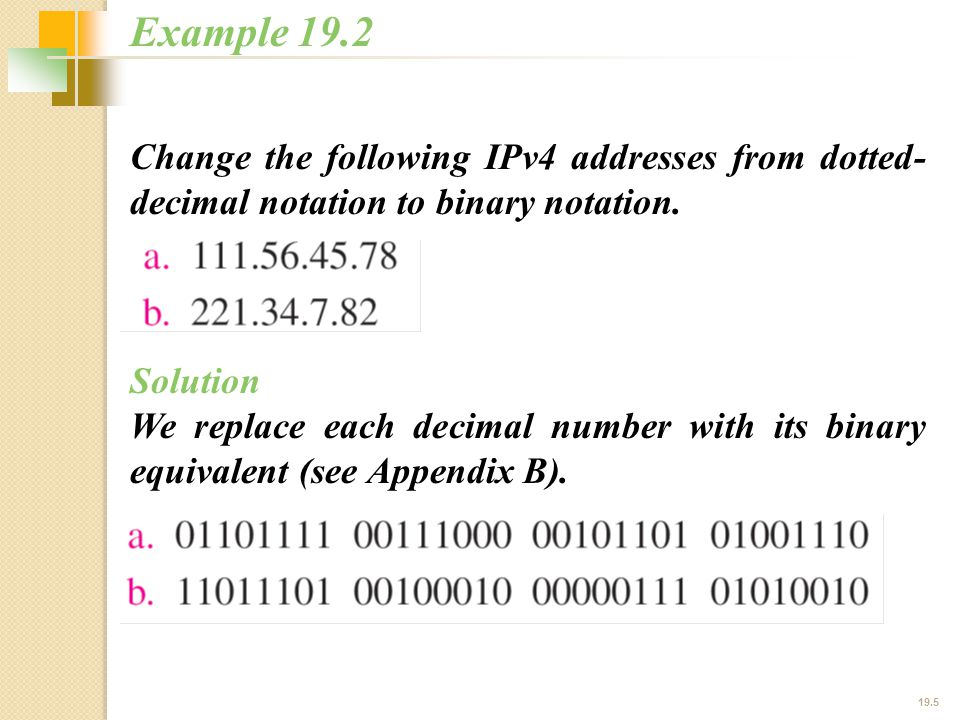 19.5 Change the following IPv4 addresses from dotted- decimal notation to binary notation.
