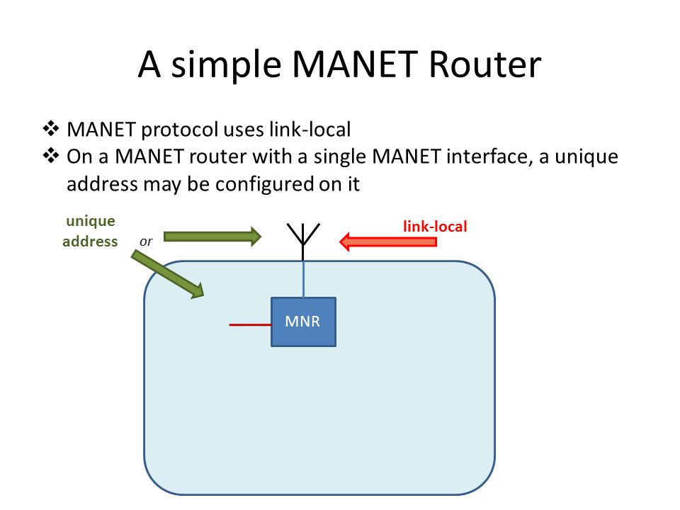 A simple MANET Router  MANET protocol uses link-local  On a MANET router with a single MANET interface, a unique address may be configured on it MNR unique address or link-local