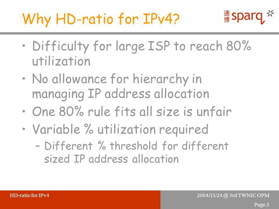 2004/11/24 @ 3rd TWNIC OPMHD-ratio for IPv4 Page.3 Why HD-ratio for IPv4.