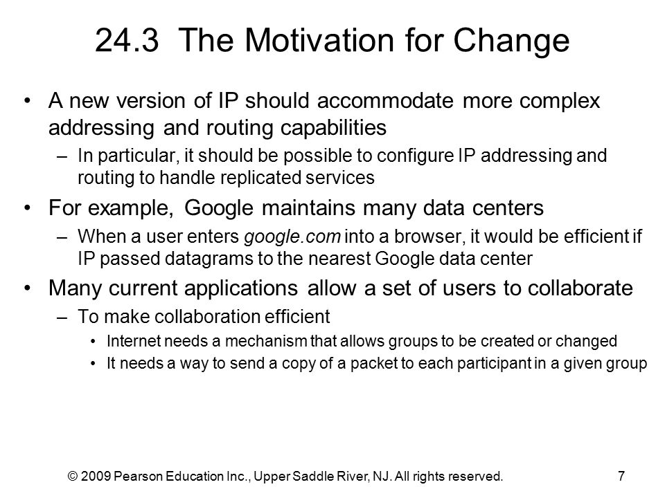 © 2009 Pearson Education Inc., Upper Saddle River, NJ. All rights reserved.7 24.3 The Motivation for Change A new version of IP should accommodate mor