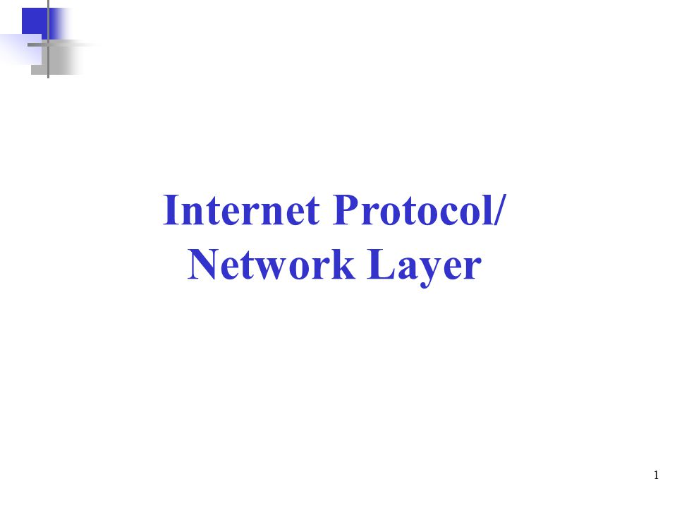 1 Internet Protocol/ Network Layer