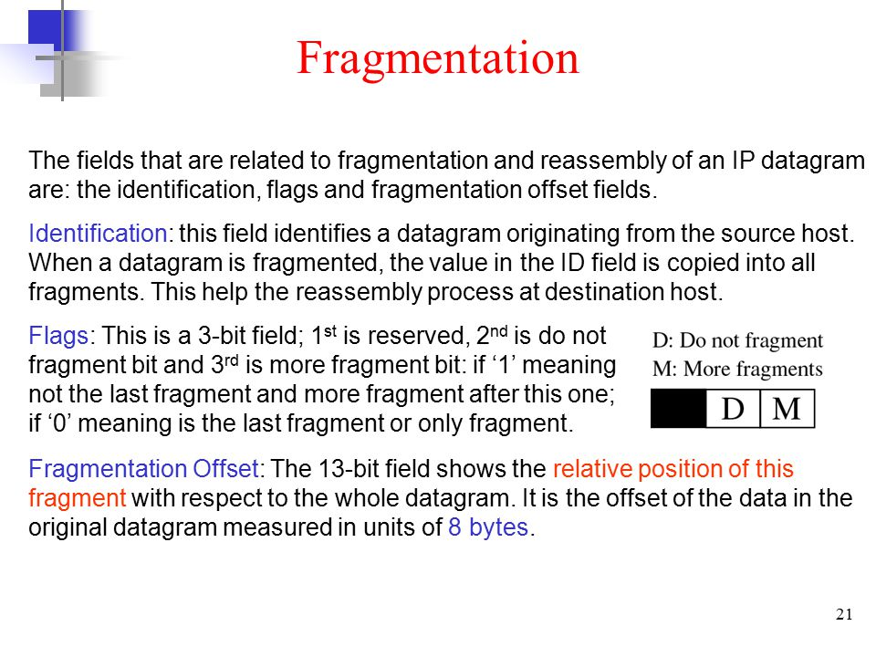 21 The fields that are related to fragmentation and reassembly of an IP datagram are: the identification, flags and fragmentation offset fields.