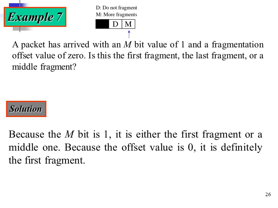 26 Example 7 A packet has arrived with an M bit value of 1 and a fragmentation offset value of zero.