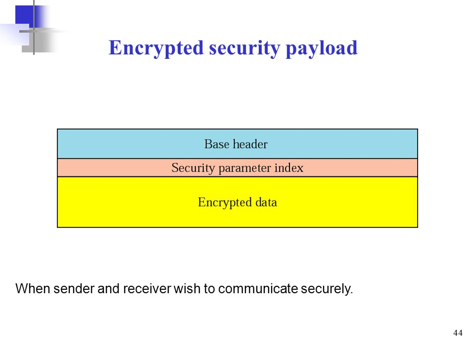 44 Encrypted security payload When sender and receiver wish to communicate securely.