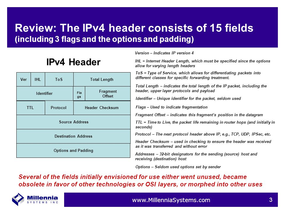 www.MillenniaSystems.com 4 Review: The IPv4 header can vary in size VerIHLToSTotal LengthIdentifier Fragment Offset TTLProtocolHeader ChecksumSource AddressDestination AddressOptions and Padding IPv4 Header 20 bytes Header size can vary if options are used The IPv6 header was designed to optimize the protocol and fix the header to a consistent size to expedite packet forwarding Fla gs