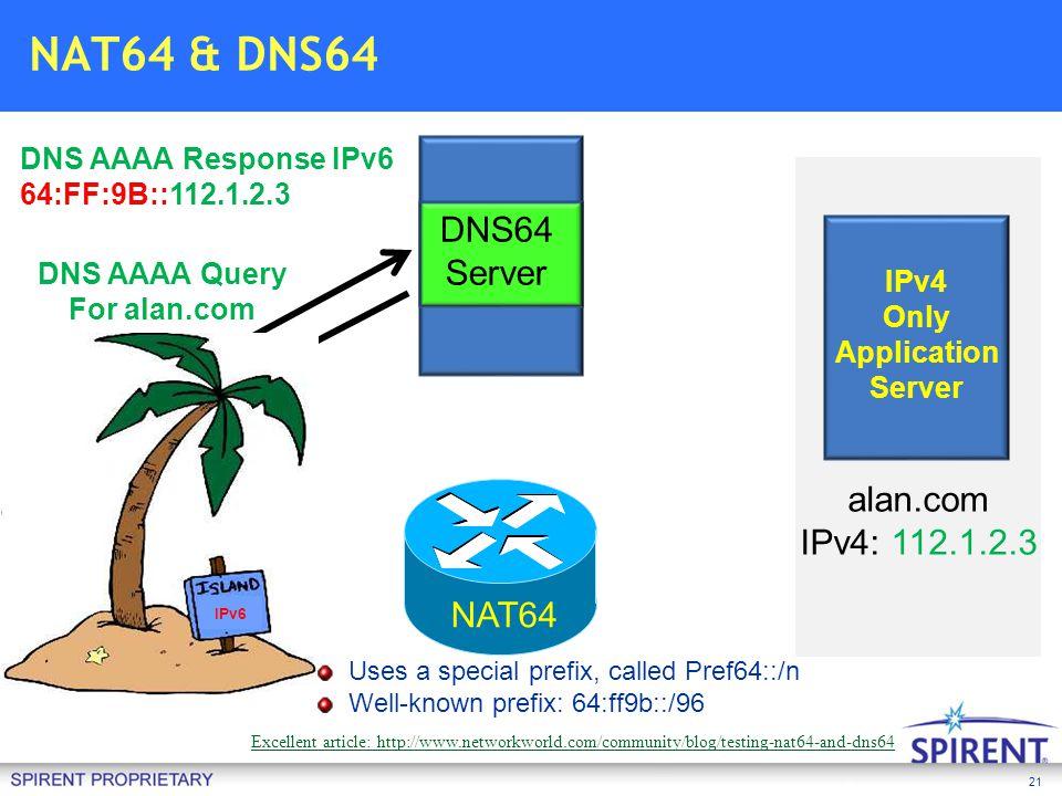 21 Client IPv6 Only DNS AAAA Query For alan.com DNS64 Server alan.com IPv4: 112.1.2.3 DNS AAAA Response IPv6 64:FF:9B::112.1.2.3 NAT64 IPv4 Only Appli