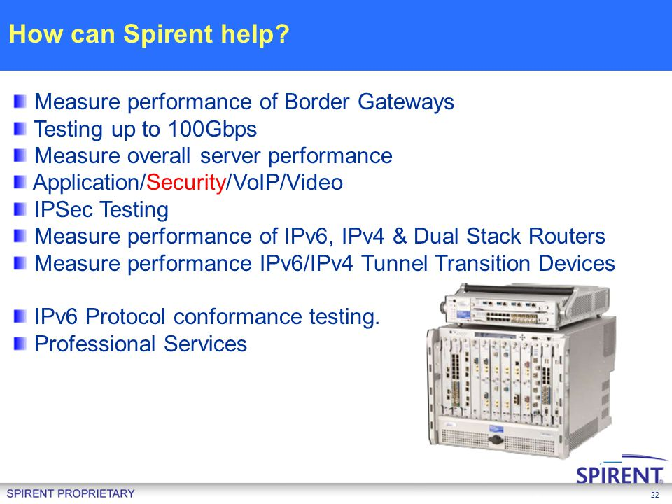 22 Measure performance of Border Gateways Testing up to 100Gbps Measure overall server performance Application/Security/VoIP/Video IPSec Testing Measu