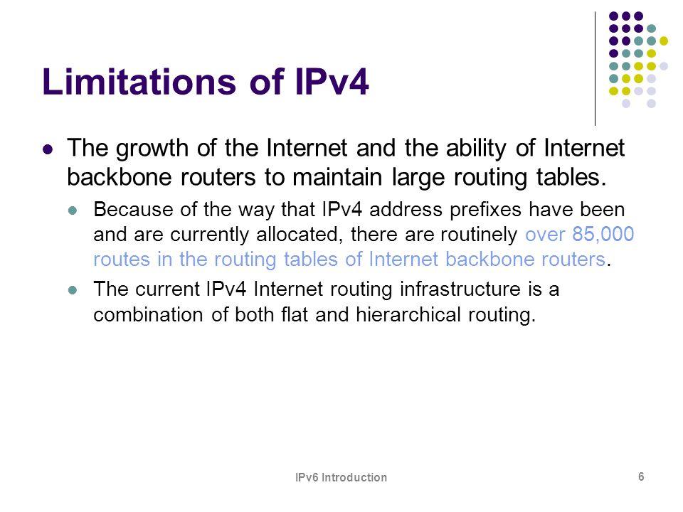 IPv6 Introduction 17 IANA IPv6 Allocations to RIRs RIRIPv6 Address AfriNIC2C00:0000::/12 APNIC2400:0000::/12 ARIN2600:0000::/12 LACNIC2800:0000::/12 RIPE NCC2A00:0000::/12 issued Oct 06
