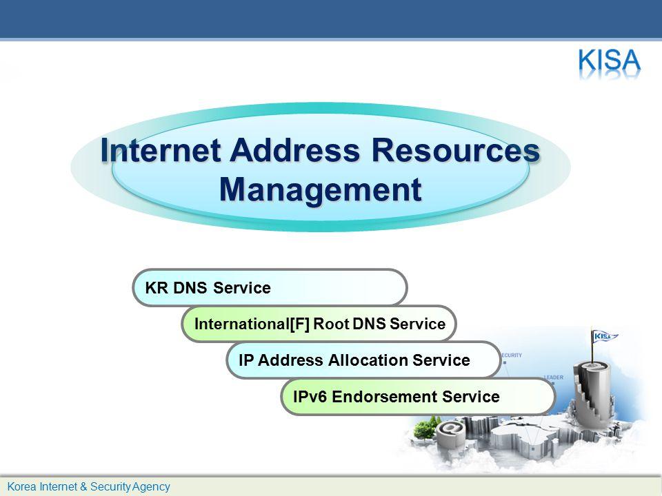 Internet Address Resources Management Management KR DNS Service International[F] Root DNS Service IP Address Allocation Service IPv6 Endorsement Service Korea Internet & Security Agency