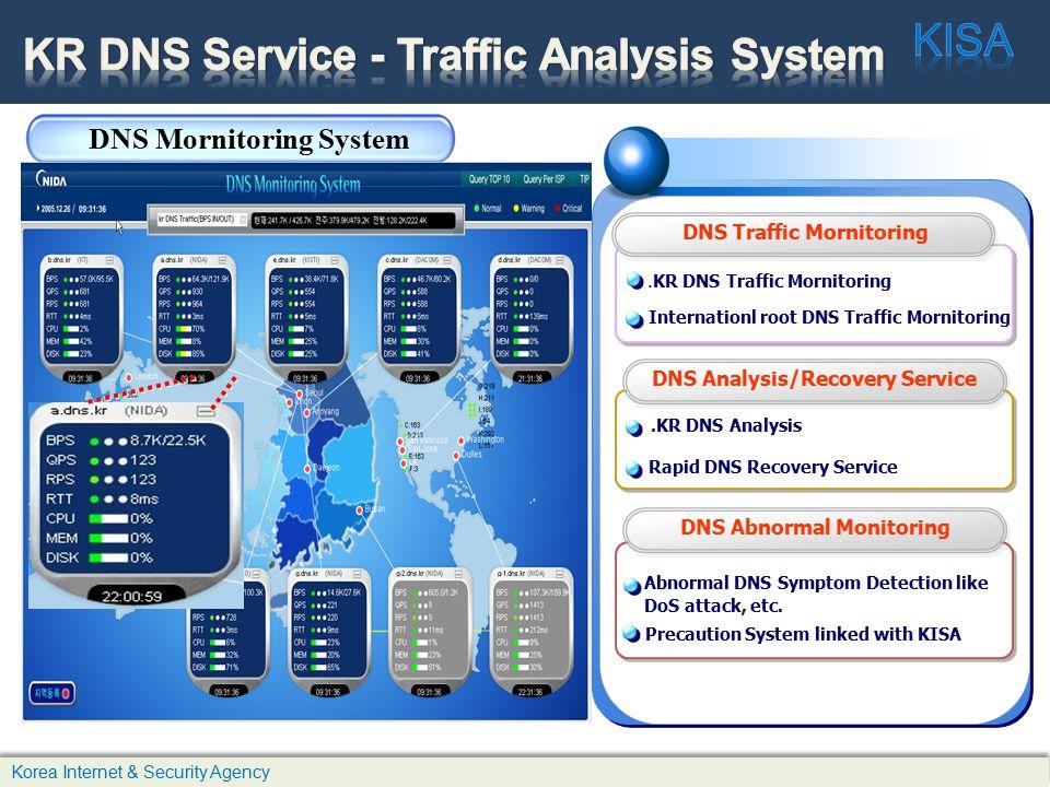 Korea Internet & Security Agency.KR DNS Traffic Mornitoring.KR DNS Analysis Abnormal DNS Symptom Detection like DoS attack, etc.