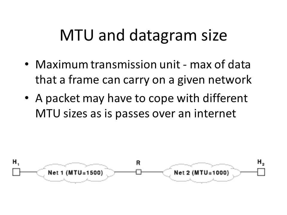 MTU and datagram size Maximum transmission unit - max of data that a frame can carry on a given network A packet may have to cope with different MTU sizes as is passes over an internet