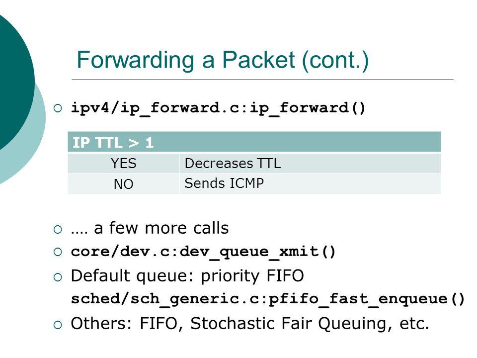 Forwarding a Packet (cont.)  ipv4/ip_forward.c:ip_forward() .... a few more calls  core/dev.c:dev_queue_xmit()  Default queue: priority FIFO sched