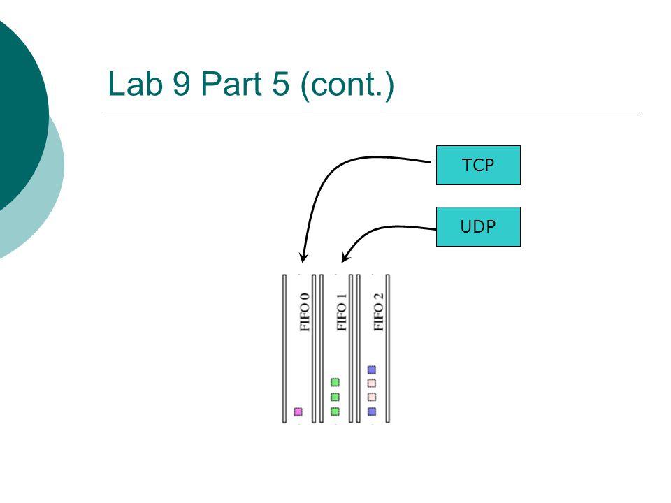 Lab 9 Part 5 (cont.) UDP TCP