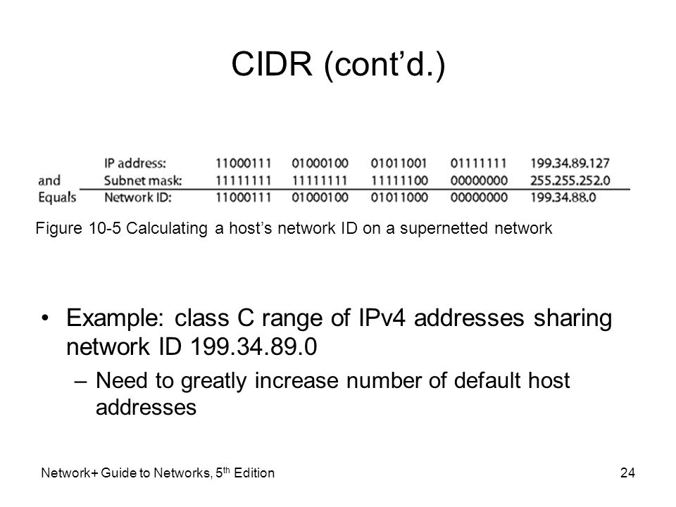 Network+ Guide to Networks, 5 th Edition24 CIDR (cont'd.) Example: class C range of IPv4 addresses sharing network ID 199.34.89.0 –Need to greatly inc