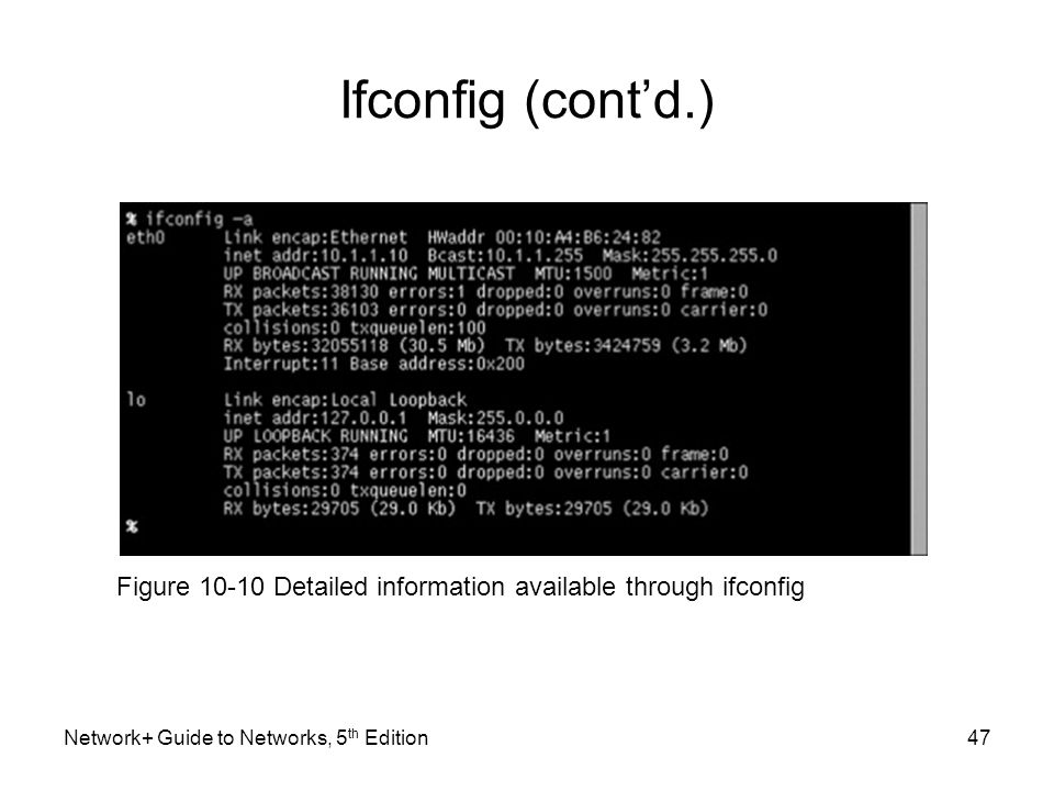 Network+ Guide to Networks, 5 th Edition47 Ifconfig (cont'd.) Figure 10-10 Detailed information available through ifconfig