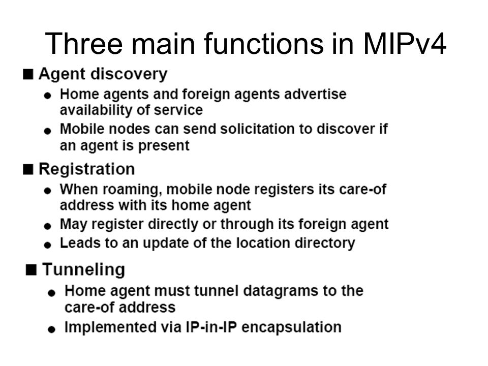 Three main functions in MIPv4