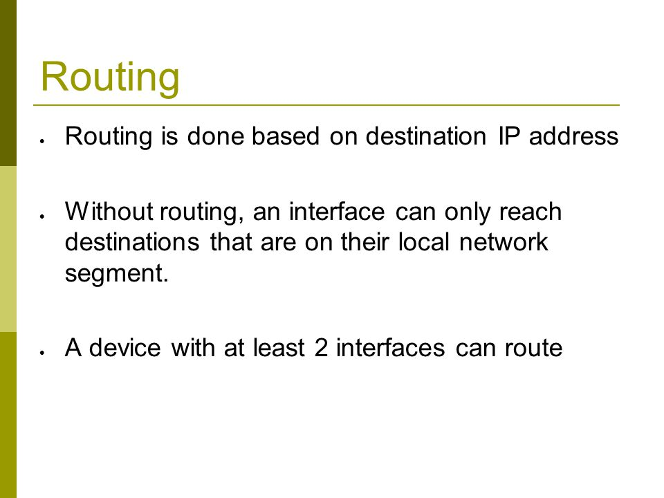 Routing Static route specifically instructs router on which route to take to a particular destination network.