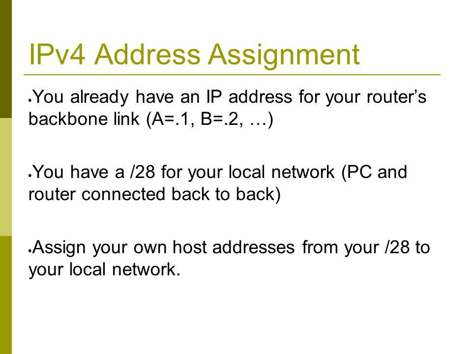 IPV6 Address Assignments SWITCH E C D 2001:4348:220:5::/64 2001:4348:220:4::/64 2001:4348:220:3::/64 H J I 2001:4348:220:8::/64 2001:4348:220:9::/64 2001:4348:220:A::/64 2001:4348:220:0::/64 :5 :4 :3 :2 :6 :7 :8 :9 B 2001:4348:220:2::/64 A 2001:4348:220:1::/64 :1:A F G 2001:4348:220:6::/64 2001:4348:220:7::/64 SIE Router 2001:4348:220::F/64