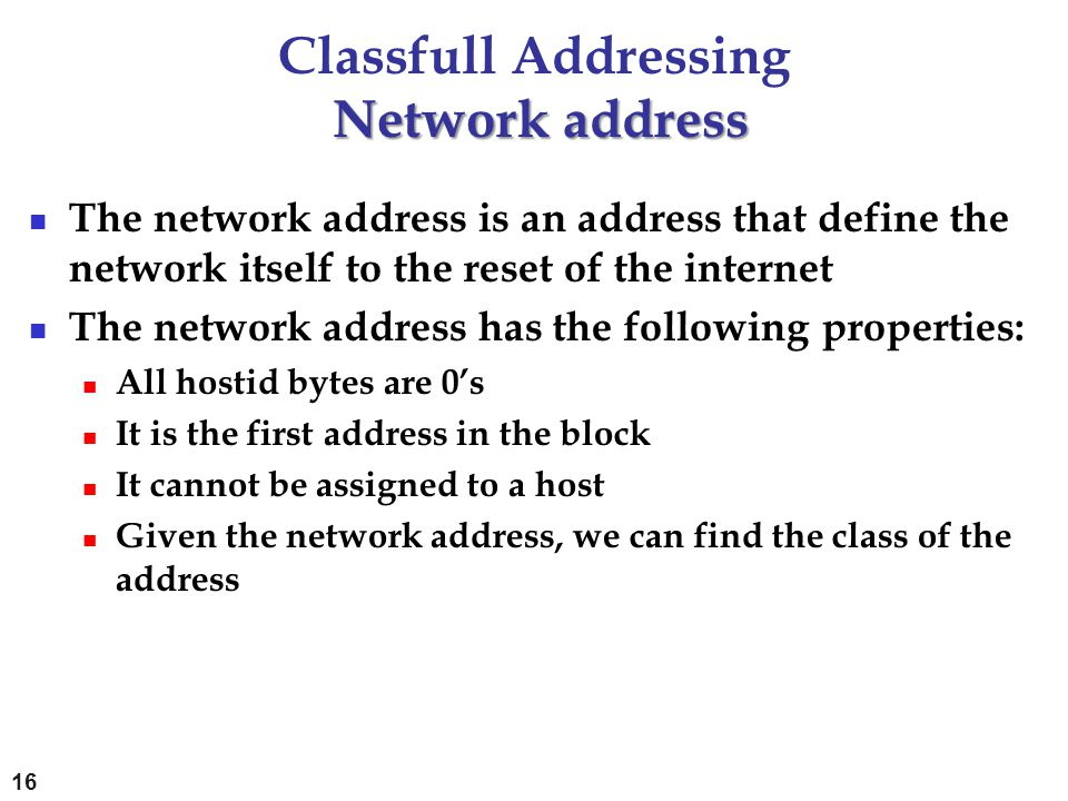 Network address Classfull Addressing Network address The network address is an address that define the network itself to the reset of the internet The
