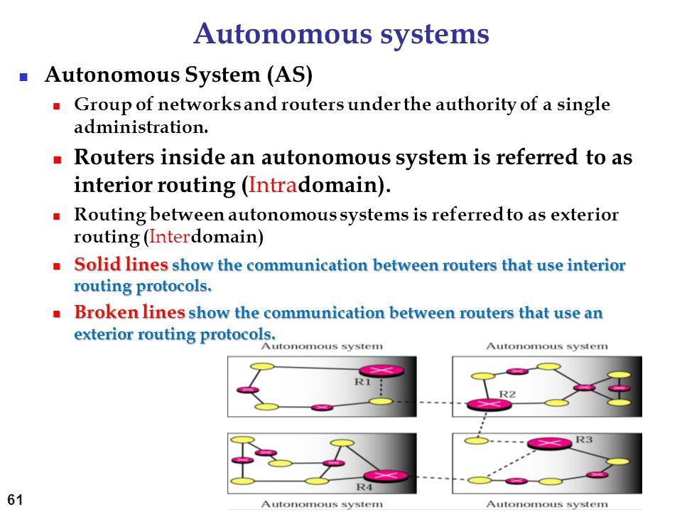 Autonomous systems Autonomous System (AS) Group of networks and routers under the authority of a single administration. Routers inside an autonomous s
