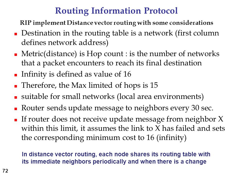 Routing Information Protocol RIP implement Distance vector routing with some considerations Destination in the routing table is a network (first colum