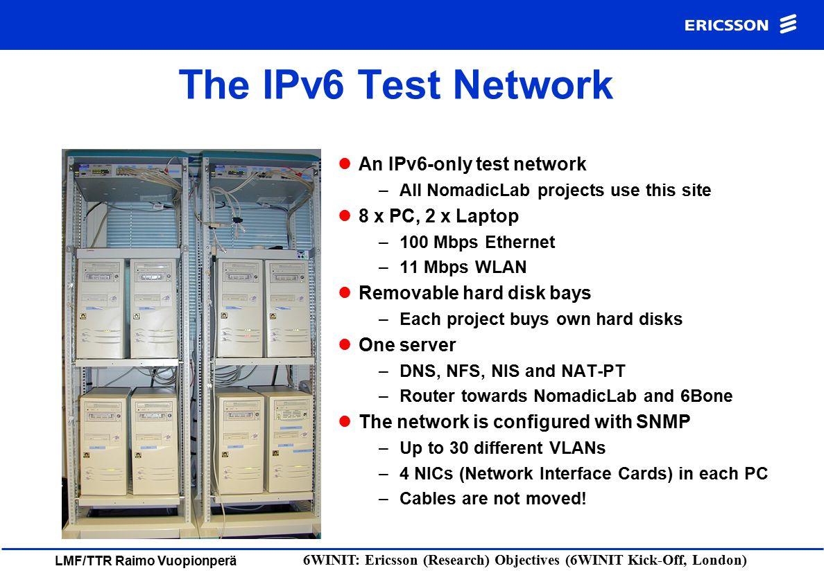 LMF/TTR Raimo Vuopionperä 6WINIT: Ericsson (Research) Objectives (6WINIT Kick-Off, London) The IPv6 Test Network An IPv6-only test network –All Nomadi