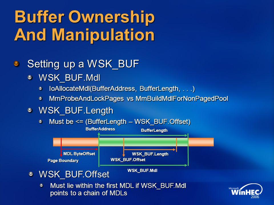 Buffer Ownership And Manipulation Setting up a WSK_BUF WSK_BUF.Mdl IoAllocateMdl(BufferAddress, BufferLength,...) MmProbeAndLockPages vs MmBuildMdlFor