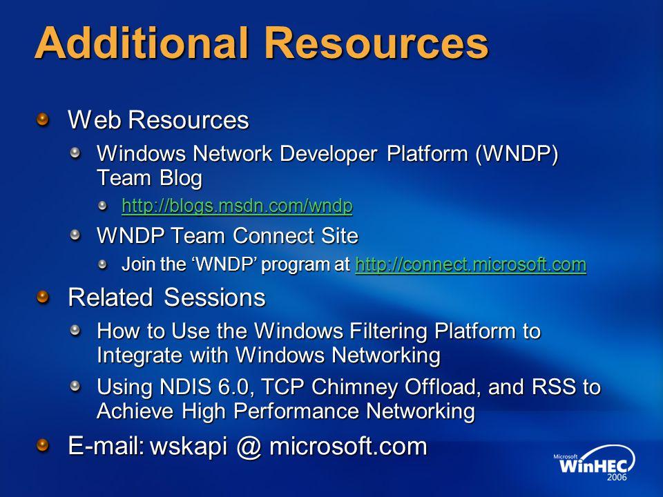 Additional Resources Web Resources Windows Network Developer Platform (WNDP) Team Blog http://blogs.msdn.com/wndp WNDP Team Connect Site Join the 'WND