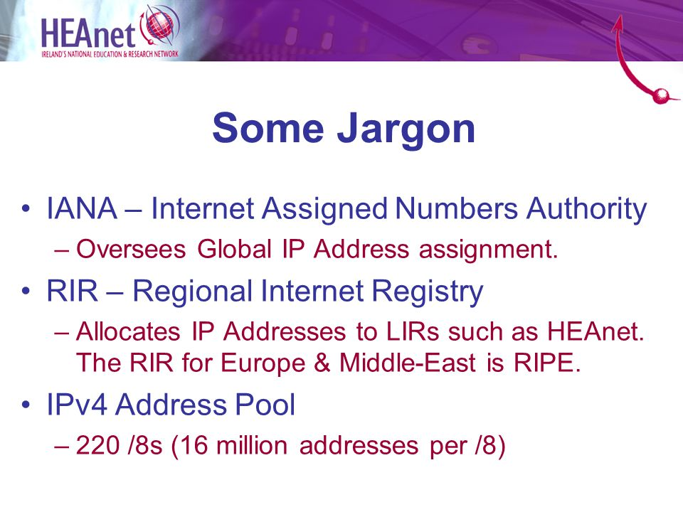Some Jargon IANA – Internet Assigned Numbers Authority –Oversees Global IP Address assignment.