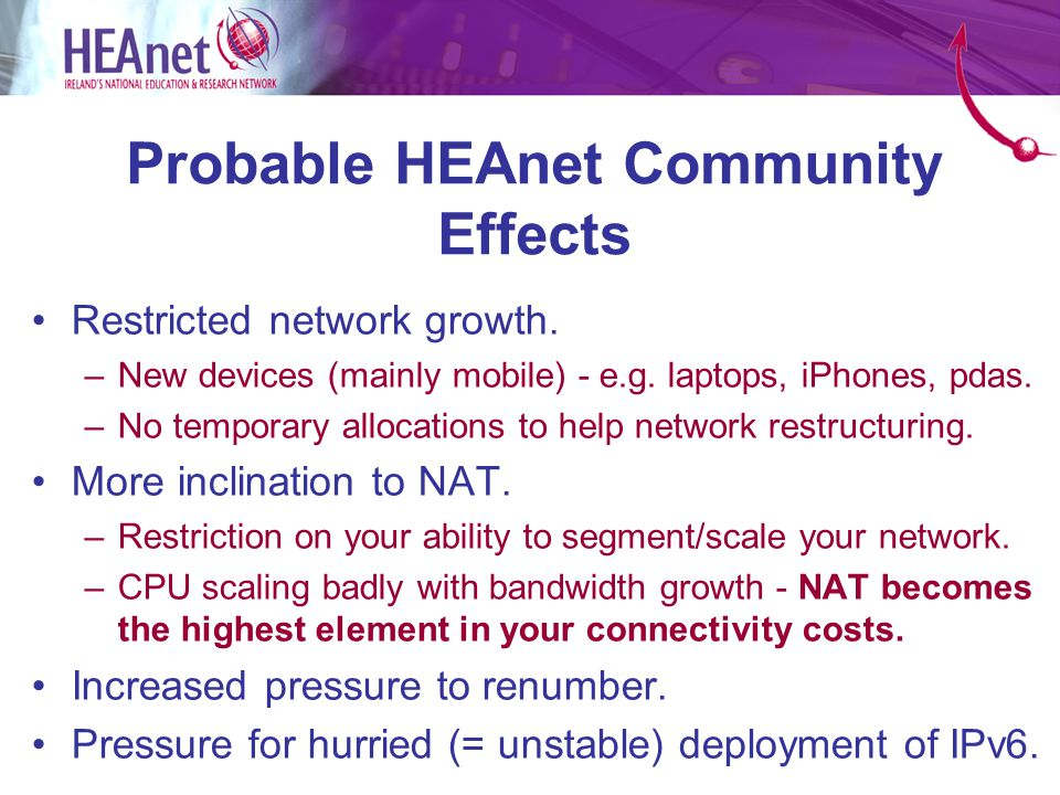 Probable HEAnet Community Effects Restricted network growth.